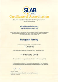 Microbiology laboratory accreditation certificate